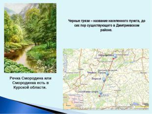Черные грязи – название населенного пункта, до сих пор существующего в Дмитри