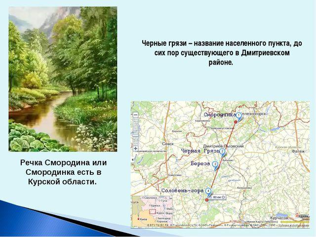 Черные грязи – название населенного пункта, до сих пор существующего в Дмитри...