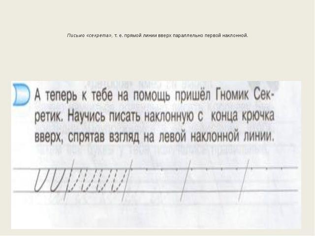 Письмо «секрета»,т. е. прямой линии вверх параллельно первой наклонной. алго...