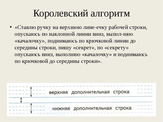 Королевский алгоритм «Ставлю ручку на верхнюю линеечку рабочей строки, опуск...