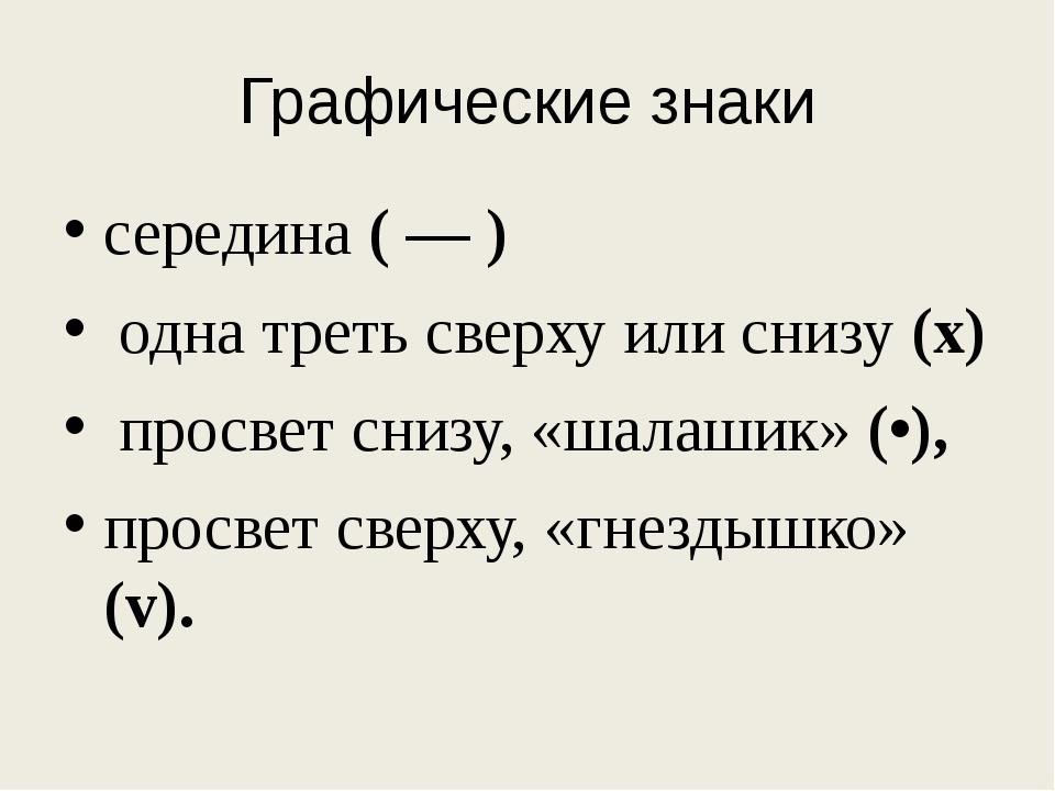 Графические знаки середина ( — ) однатреть сверху или снизу (х) просвет сниз...