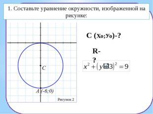 1. Составьте уравнение окружности, изображенной на рисунке: R-? Рисунок 3