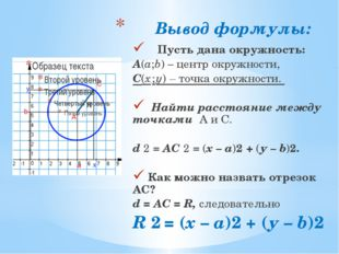 Вывод формулы: Пусть дана окружность: А(а;b) – центр окружности, С(х ; у) – т