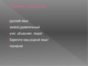 Пример синквейна: русский язык живой,удивительный учит, объясняет, творит Бер