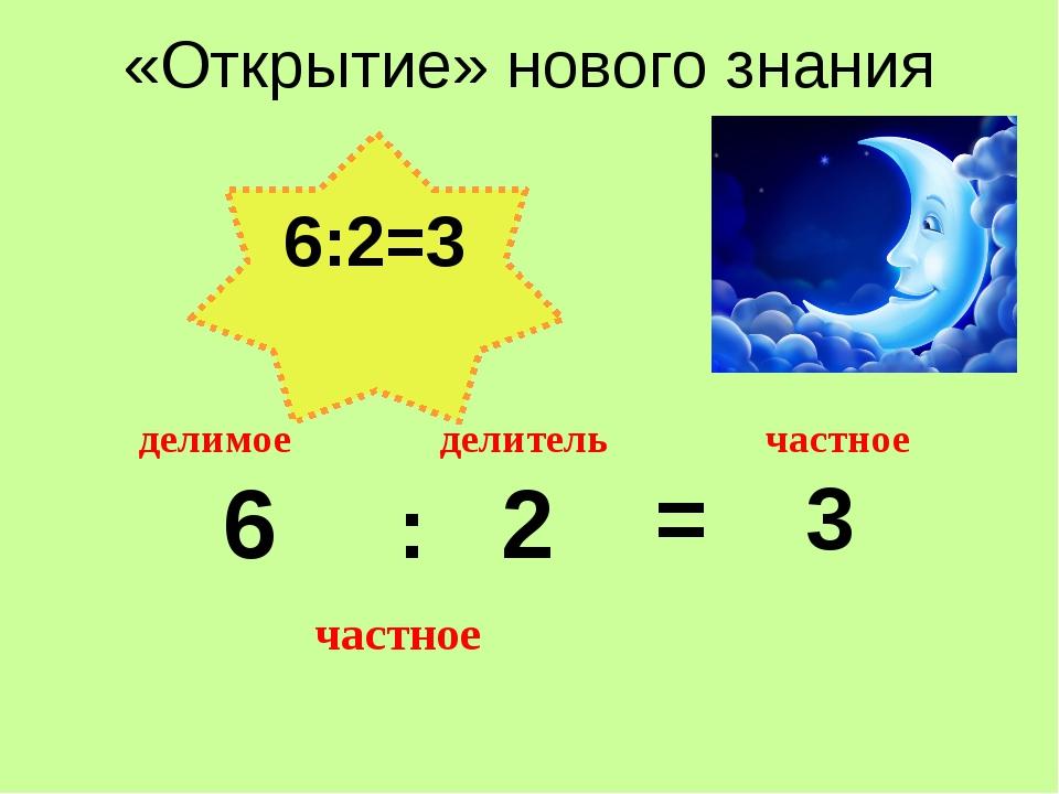 «Открытие» нового знания 6 : 2 = 3 делитель делимое частное частное 6:2=3