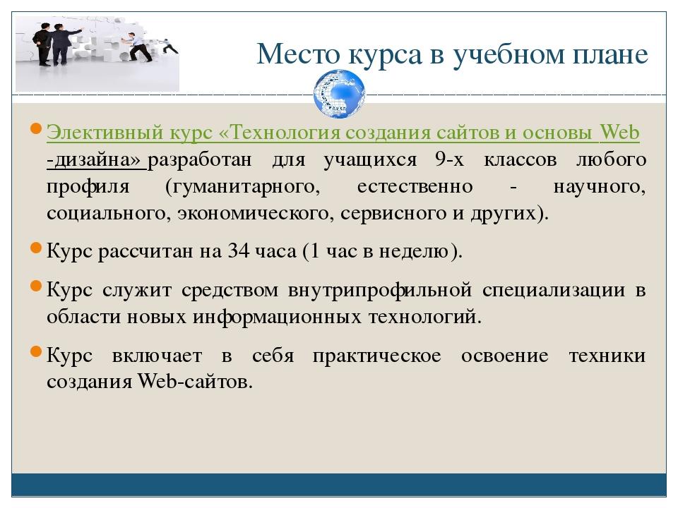 Элективный курс создание сайтов 11 класс страховые компании москвы официальные сайты