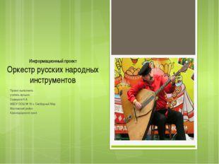 Информационный проект Оркестр русских народных инструментов Проект выполнила: