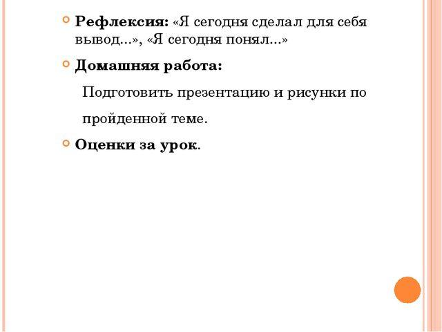 Рефлексия:«Ясегодня сделал для себя вывод...», «Ясегодня понял...» Домашня...