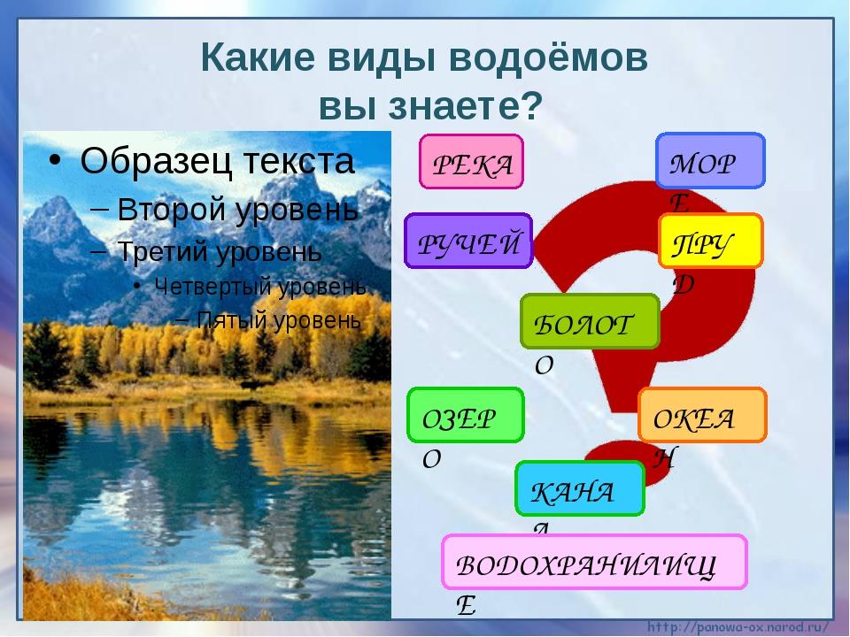 Какие виды водоёмов вы знаете? РЕКА МОРЕ БОЛОТО ПРУД РУЧЕЙ ОЗЕРО ОКЕАН КАНАЛ...