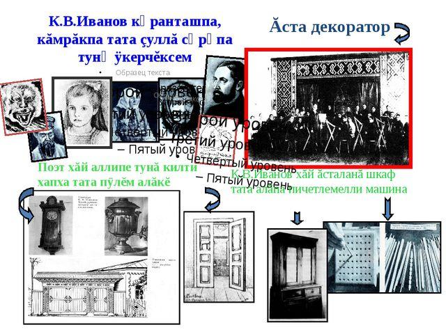 К.В.Иванов кӑранташпа, кăмрăкпа тата çуллă сӑрӑпа тунӑ ÿкерчĕксем Ăста декора...