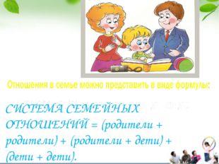 СИСТЕМА СЕМЕЙНЫХ ОТНОШЕНИЙ = (родители + родители) + (родители + дети) + (дет