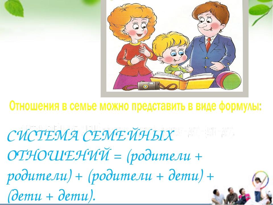 СИСТЕМА СЕМЕЙНЫХ ОТНОШЕНИЙ = (родители + родители) + (родители + дети) + (дет...
