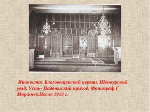 Иконостас Благовещенской церкви. Шенкурский уезд, Усть- Паденьгский приход.