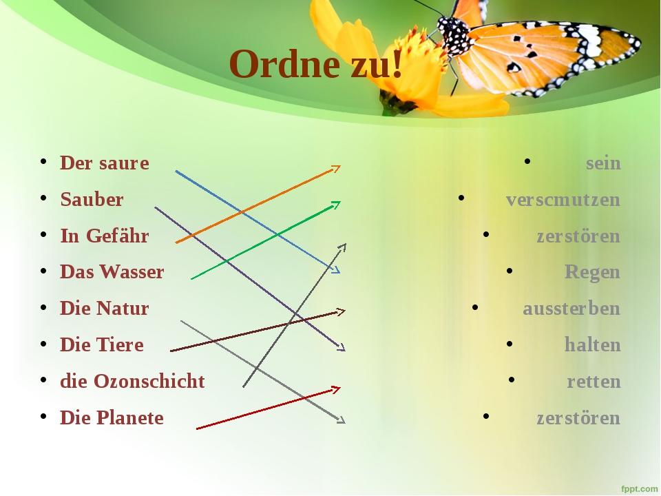 Ordne zu! Der saure Sauber In Gefähr Das Wasser Die Natur Die Tiere die Ozons...