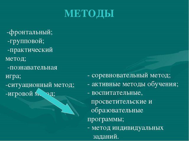 МЕТОДЫ -фронтальный; -групповой; -практический метод; -познавательная игра; -...