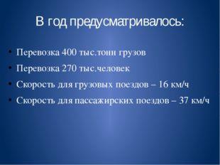 В год предусматривалось: Перевозка 400 тыс.тонн грузов Перевозка 270 тыс.чело