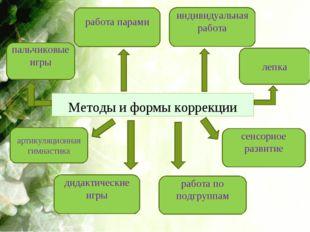 Методы и формы коррекции пальчиковые игры индивидуальная работа работа парами