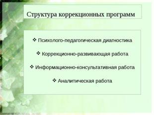 Структура коррекционных программ Психолого-педагогическая диагностика Коррекц