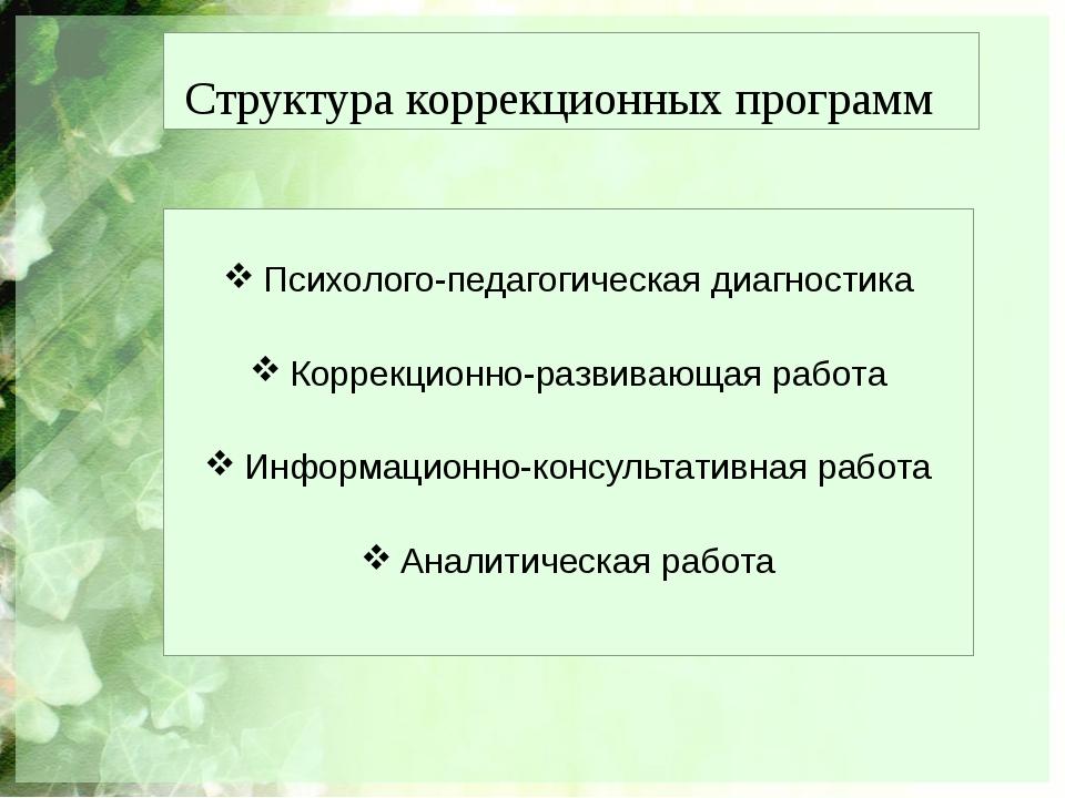 Структура коррекционных программ Психолого-педагогическая диагностика Коррекц...