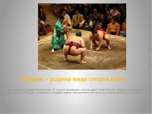Япония – родина вида спорта сумо Это поединок борцов-тяжеловесов. В схватке п