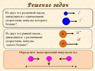 Решение задач Из двух тел различной массы, движущихся с одинаковыми скоростям