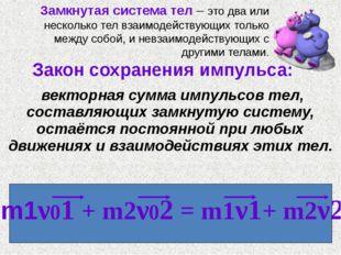 Закон сохранения импульса: векторная сумма импульсов тел, составляющих замкн