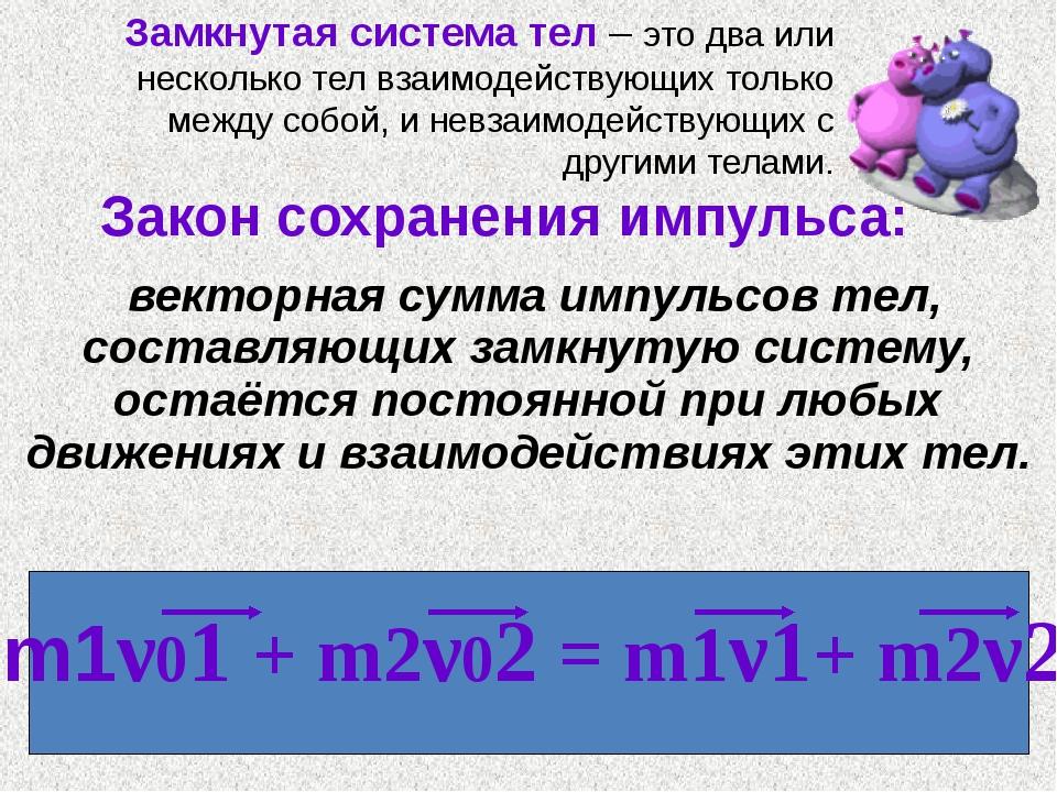 Закон сохранения импульса: векторная сумма импульсов тел, составляющих замкн...
