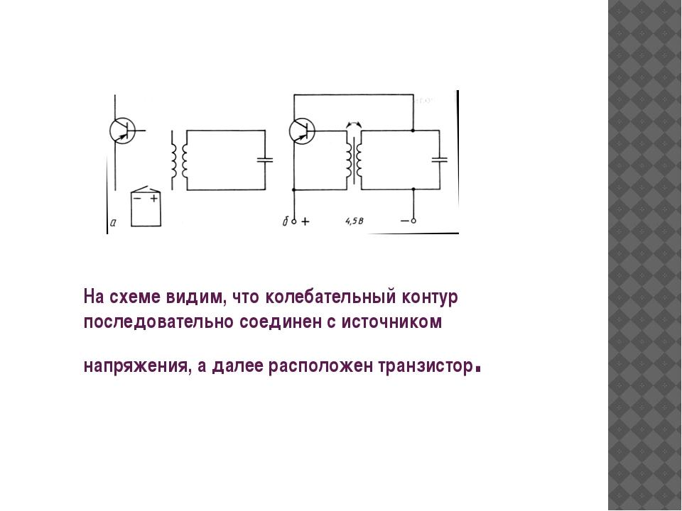 На схеме видим, что колебательный контур последовательно соединен с источнико...