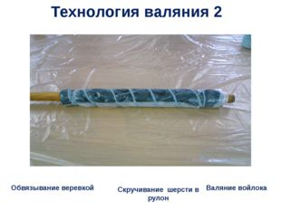 Обвязывание веревкой Скручивание шерсти в рулон Валяние войлока Технология ва