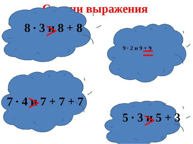 Сравни выражения 8 ∙ 3 и 8 + 8 9 ∙ 2 и 9 + 9 7 ∙ 4 и 7 + 7 + 7 5 ∙ 3 и 5 + 3...