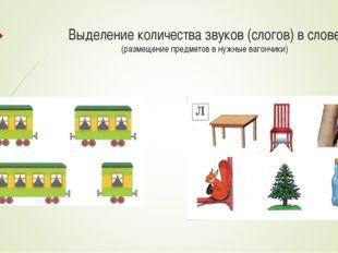 Выделение количества звуков (слогов) в слове (размещение предметов в нужные в