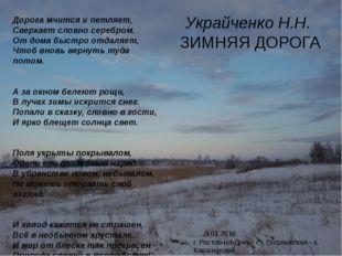 Украйченко Н.Н. ЗИМНЯЯ ДОРОГА 3.01.2016. г. Ростов-на-Дону - ст. Егорлыкская