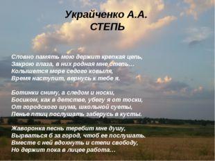 Украйченко А.А. СТЕПЬ Словно память мою держит крепкая цепь, Закрою глаз