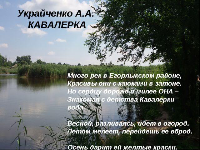 Украйченко А.А. КАВАЛЕРКА Много рек в Егорлыкском районе, Красивы они с каюка...