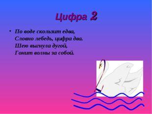 Цифра 2 По воде скользит едва, Словно лебедь, цифра два. Шею выгнула дугой, Г