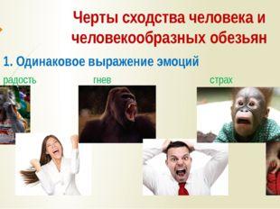 Черты сходства человека и человекообразных обезьян 1. Одинаковое выражение эм