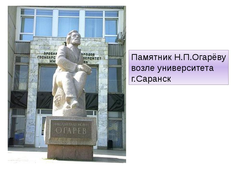 Памятник Н.П.Огарёву возле университета г.Саранск