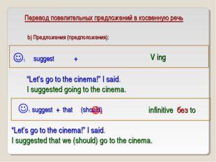 """Перевод повелительных предложений в косвенную речь suggest + 1 V ing """"Let's"""