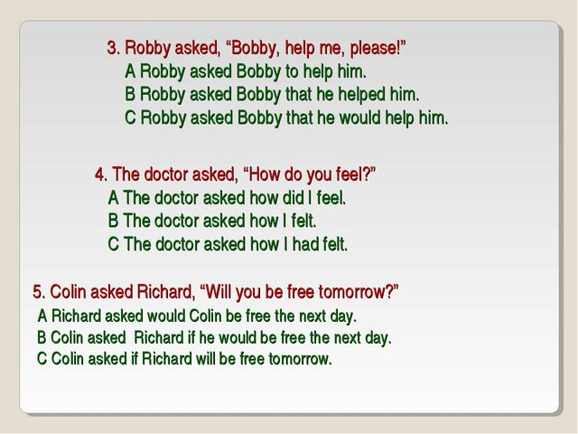 """3. Robby asked, """"Bobby, help me, please!"""" A Robby asked Bobby to help him. B..."""