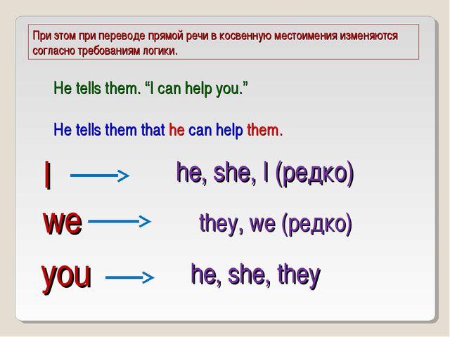 I he, she, I (редко) we they, we (редко) you he, she, they При этом при перев...