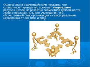 Оценка опыта взаимодействия показала, что социальное партнерство помогает нап