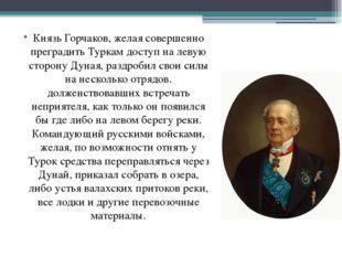 Князь Горчаков, желая совершенно преградить Туркам доступ на левую сторону Ду