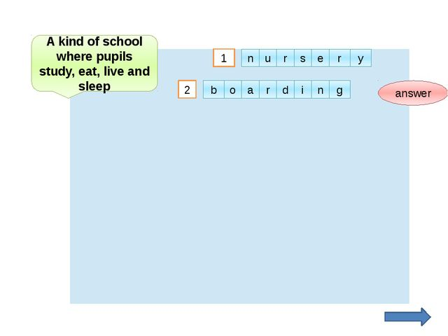 2 answer A kind of school where pupils study, eat, live and sleep 1 u n r s e...