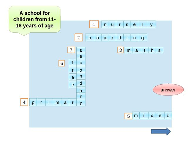 2 1 3 4 5 6 7 answer A school for children from 11-16 years of age u n r s e...