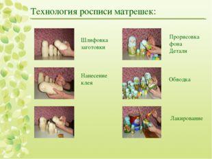 Технология росписи матрешек: Шлифовка заготовки Нанесение клея Прорисовка фон