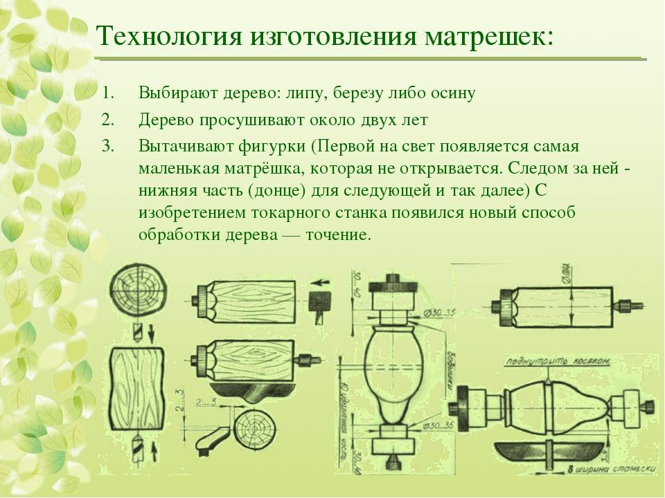 Технология изготовления матрешек: Выбирают дерево: липу, березу либо осину Де...