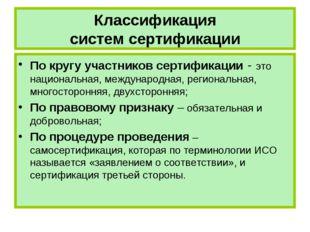 Классификация систем сертификации По кругу участников сертификации - это наци