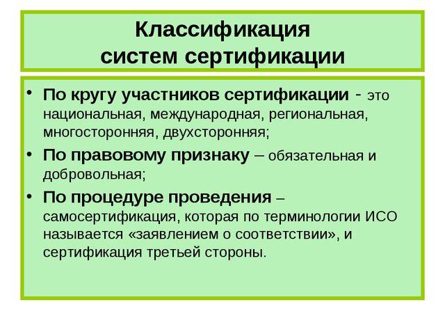 Классификация систем сертификации По кругу участников сертификации - это наци...