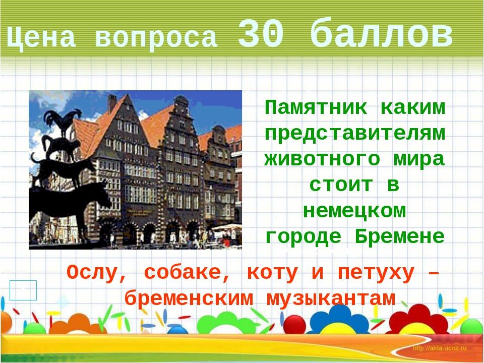 Цена вопроса 30 баллов Ответ: Венгрия * Памятник каким представителям животно...