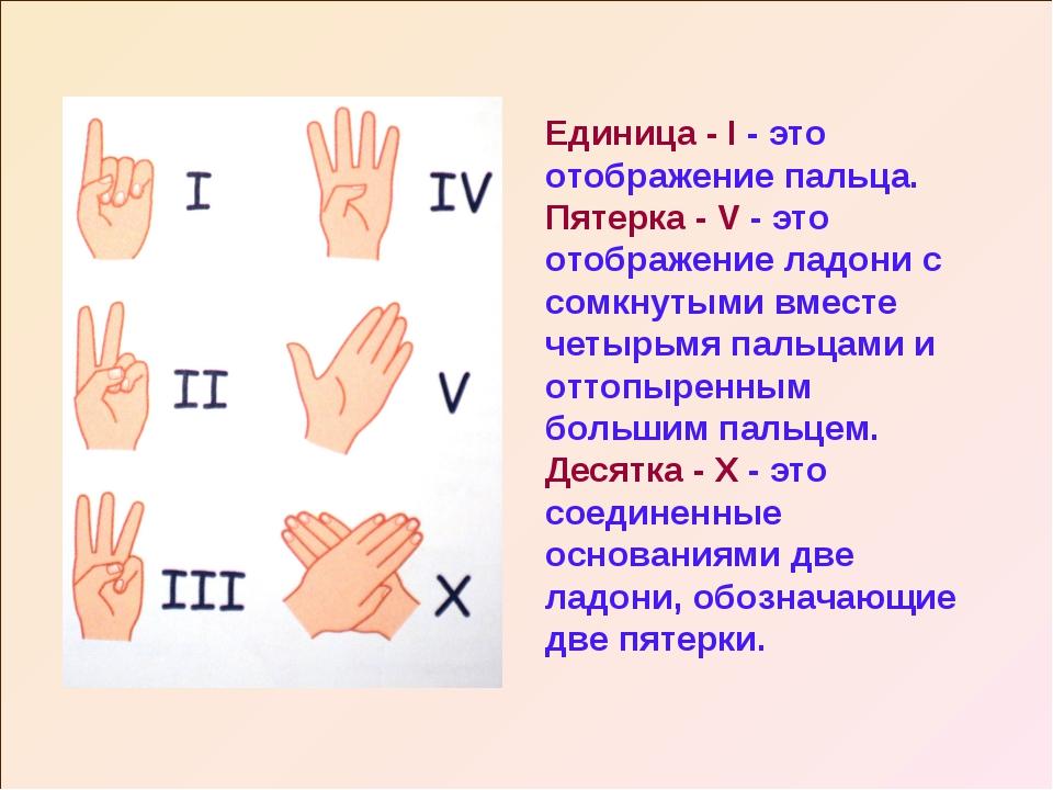 Единица - I - это отображение пальца. Пятерка - V - это отображение ладони с...